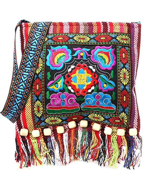 70s Clothes | Hippie Clothes & Outfits Vintage Ethnic Tribal Embroidered Tassel Sling Crossbody Boho Hippie Shoulder Bag $12.97 AT vintagedancer.com