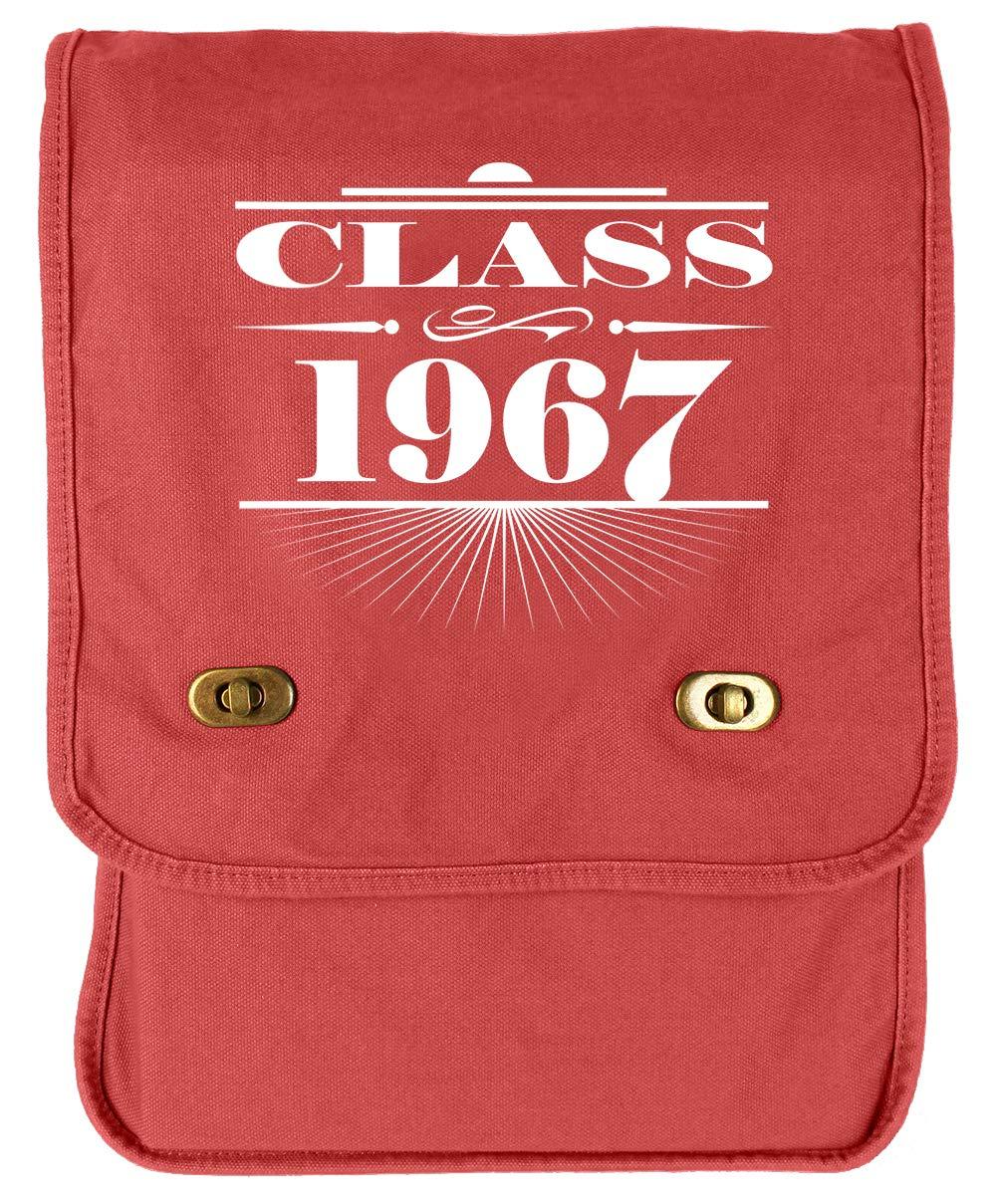 Tenacitee Art Deco Class of 1967 Flamingo Raw Edge Canvas Messenger Bag