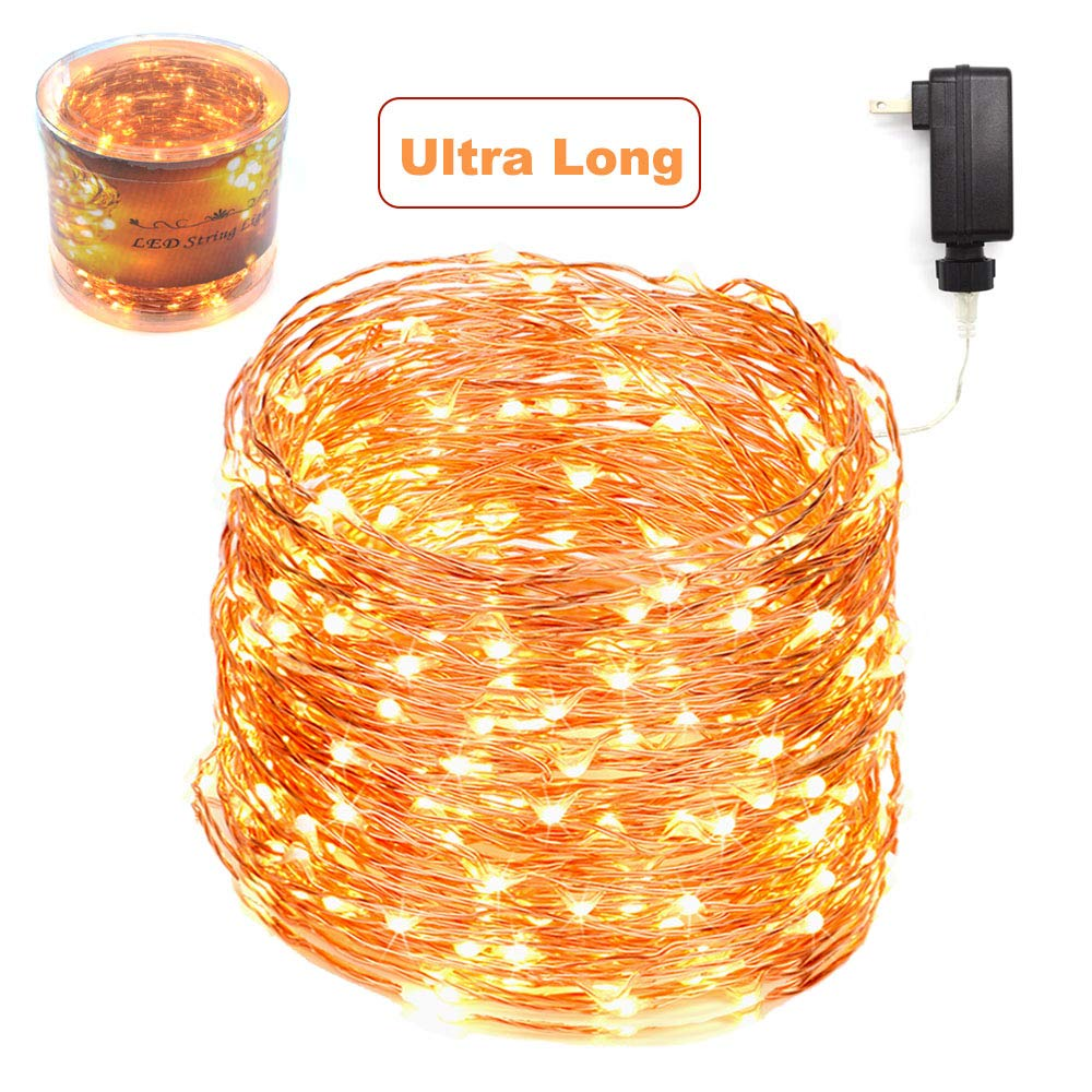 165 Ft Ultra Long 500 LEDs LED String Lights Plug in, Waterproof Deck/Porch/Ceiling Copper Wire Lights, Indoor Decorative Lights for Bedroom,Patio,Garden,Party,Christmas Tree Warm White