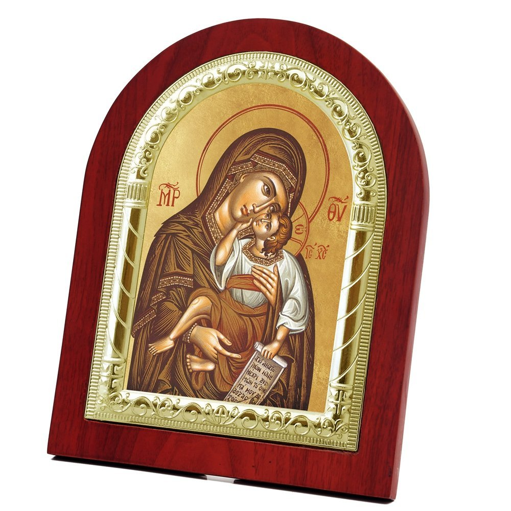 FengMicon Theotokos Icon Mother Mary and Baby Jesus Wooden Back with Metal Trim Frame Christian Icon Religious Gift