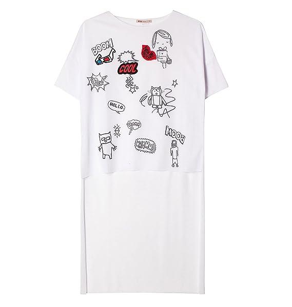 zapatos para baratas zapatos para correr en venta en línea BSB Camiseta Mujer Blanca con DIBUJITOS MAS Larga por DETRAS ...