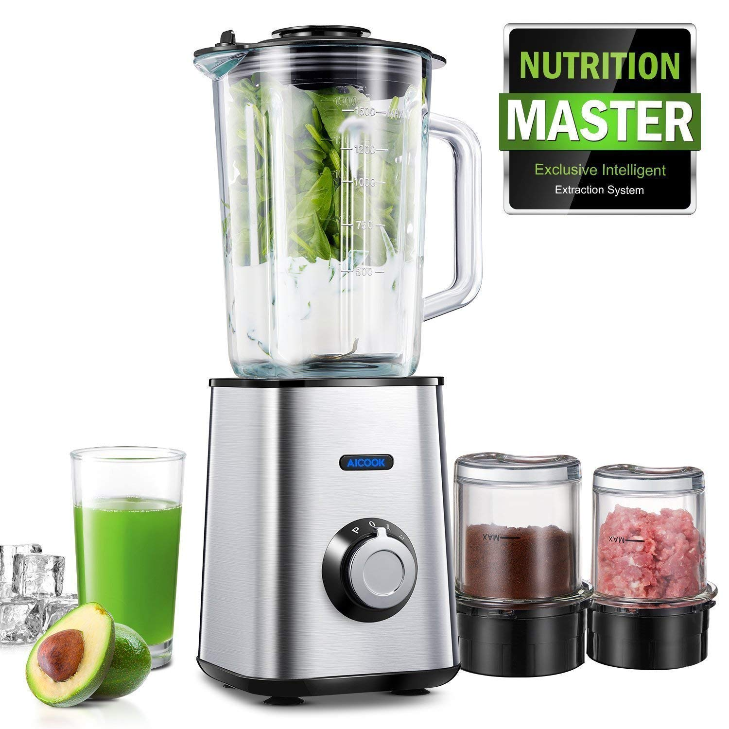 Aicook Blender, Smoothie Blender 3 in 1, 51.5oz Glass Blender, 8.5oz Coffee Grinder, and 8.5oz Food Chopper, 6 Titanium Blades, Stainless Steel Base, for Frozen Drinks and Smoothies