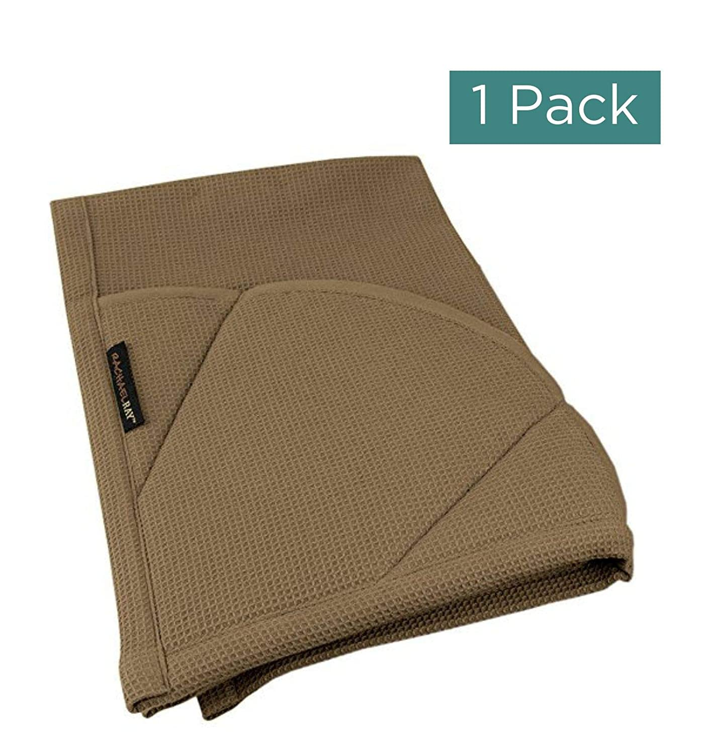 Rachael Ray Kitchen Towel, Oven Glove Moppine - 2-in-1 Ultra Absorbent Kitchen Towels with Heat Resistant Padded Pockets Like Pot Holders and Oven Mitts to Handle Hot Cookware - Brown, 1 Pack