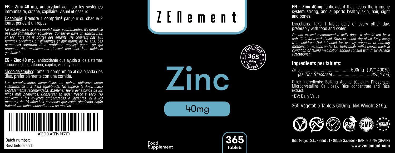 Zinc 40 mg, 365 Comprimidos | Antioxidante, ayuda al sistema inmune, piel, cabello y vista | Vegano, sin aditivos, sin gluten, No-GMO, GMP | de Zenement: ...