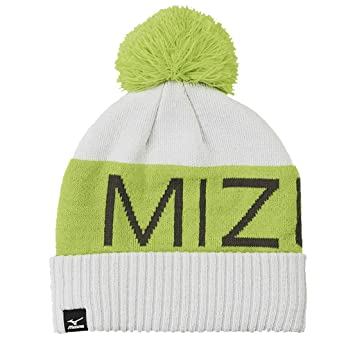 Mizuno 2016 Big Logo Wordmark Mens Golf Bobble Beanie Winter Knitted Hat  Lime Punch Castlerock 00d34e5dd7f2