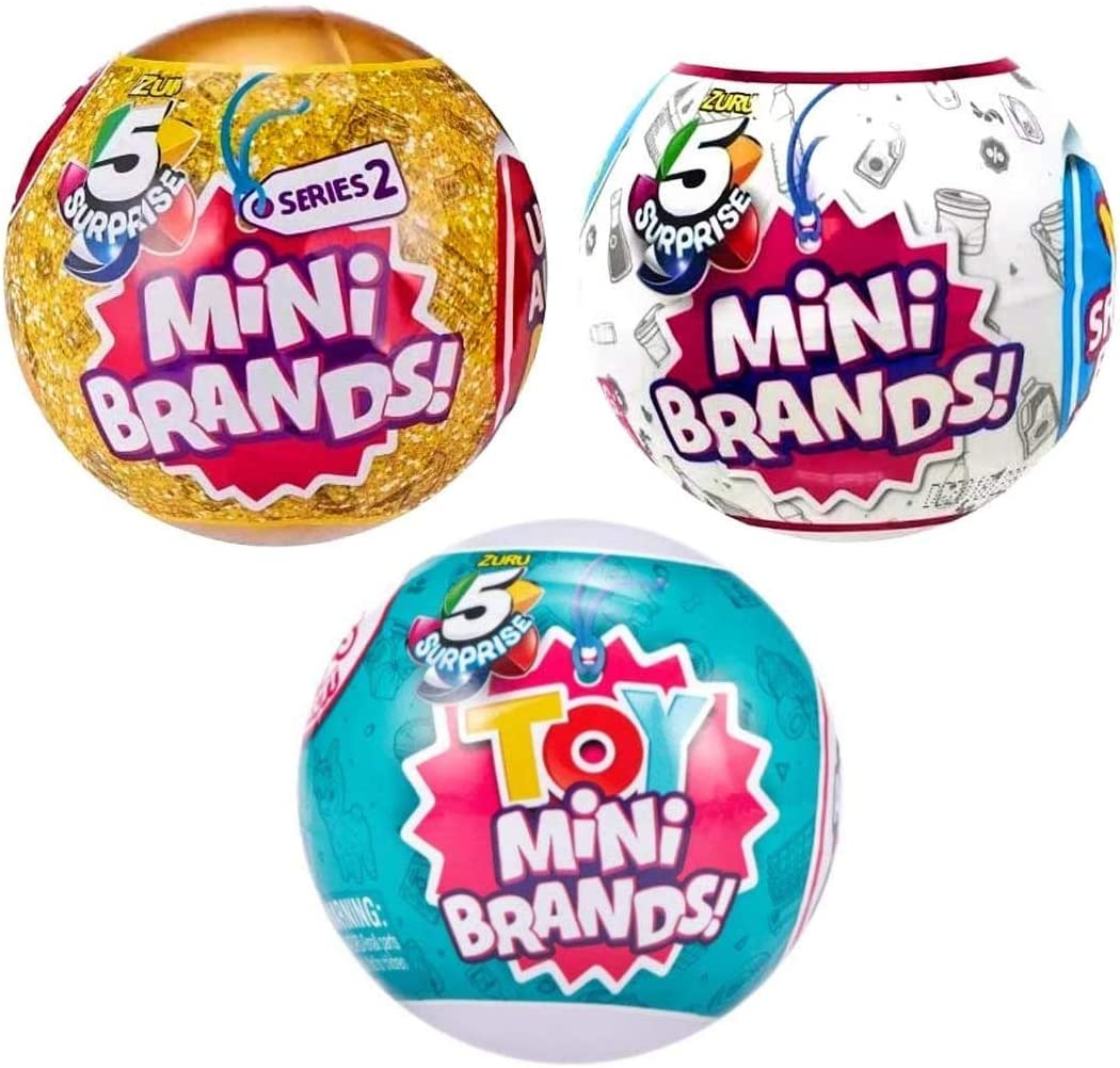 5 Surprise Mini Brands and Toy 3 Ball Bundle, Includes 1 Wave 1 Mini Brands Ball, 1 Series 2 Mini Brands Ball, and 1 Toy Mini Brand Ball