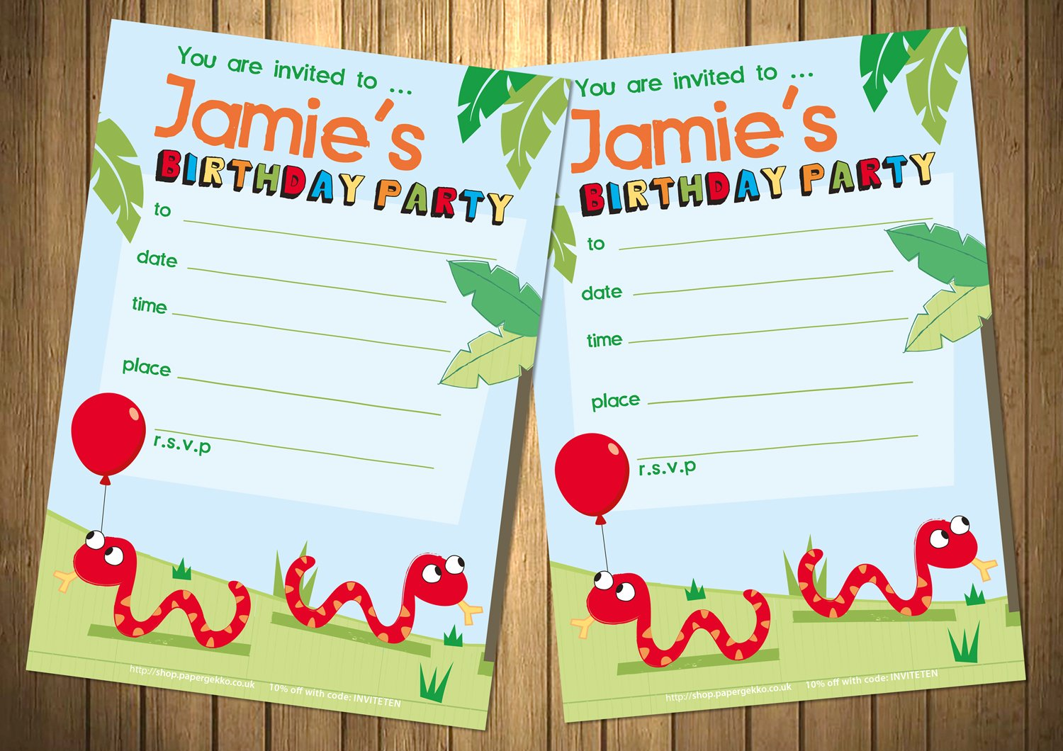 20 Pack Personalised Children\'s Birthday Party Invitations Snake ...