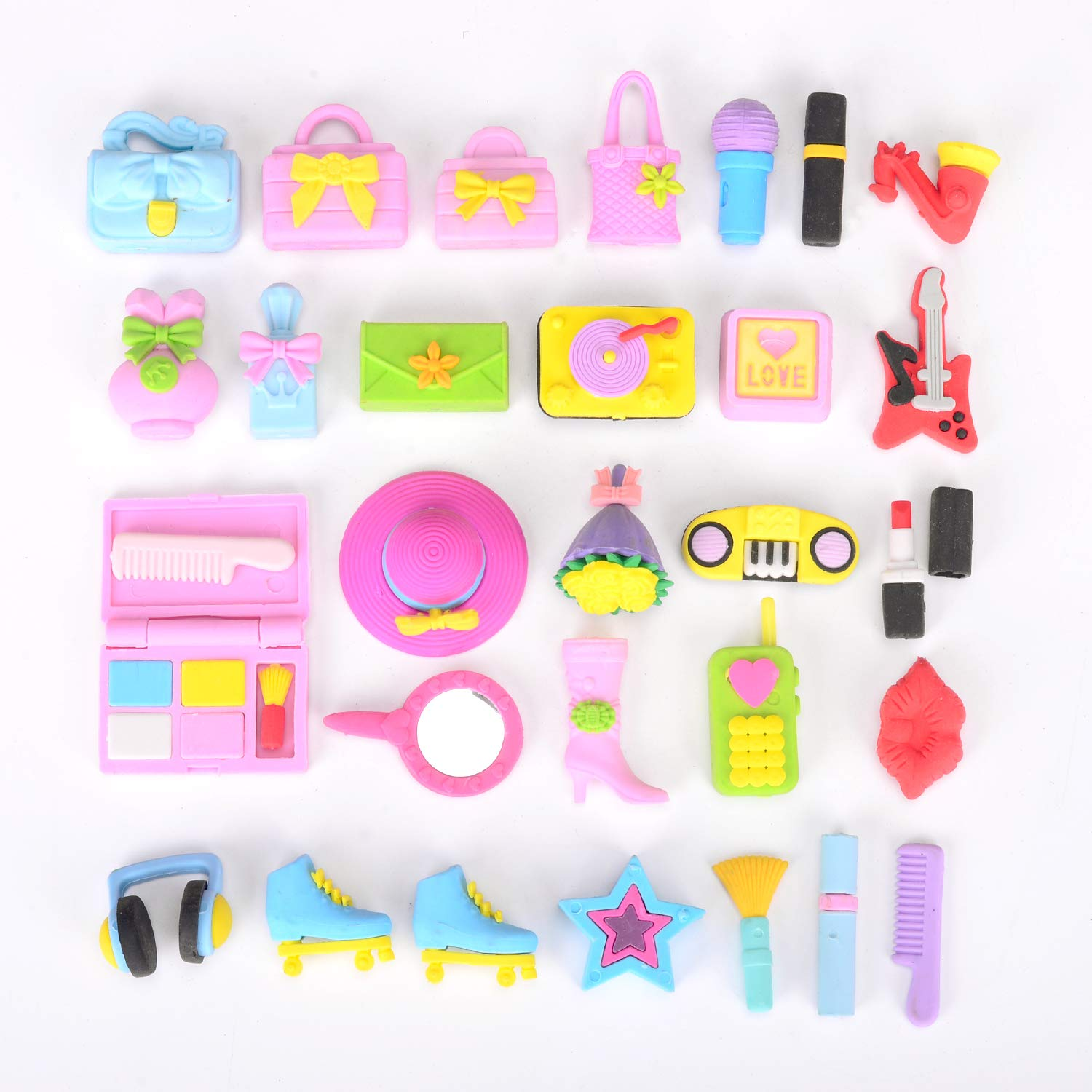 Games Prizes Carnivals and School Supplies soododo 30 PCS Girlsfavorite Puzzle Erasers for Kids Gift,Party Favors