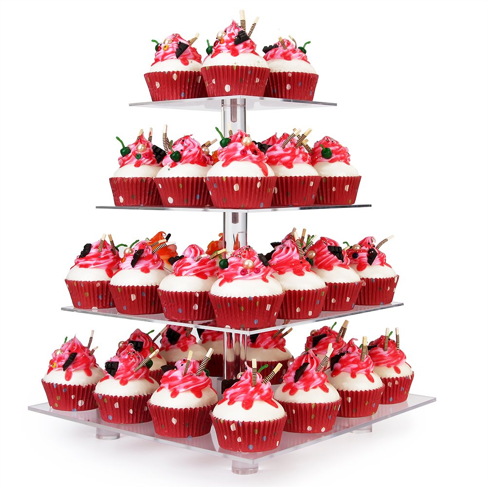YestBuy Tabletop Clear 4 Tier Acrylic Cupcake Stand (4 Tier Round) 404R-1