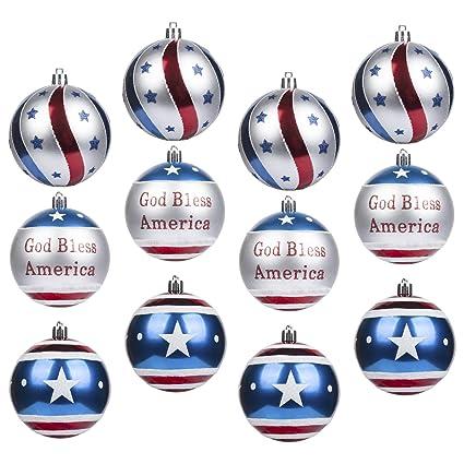 Patriotic Christmas Ornaments.Buy Ki Store Patriotic Ball Ornaments Set Of 12 Large