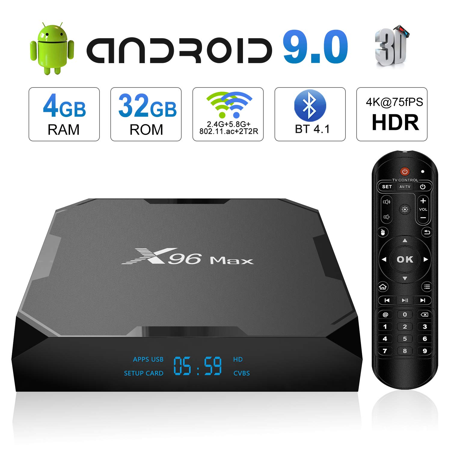 (Upgrade) Android 9.0 TV Box, X96 Max Android TV Box - 4GB RAM 32GB ROM Amlogic S905X2 Quad-core 64 Bits, Dual WiFi 2.4G+5G/1000M Ethernet/BT 4.1/USB 3.0/H.265 3D 4K@75fps Smart Media Player OTT Box by SUPVIN