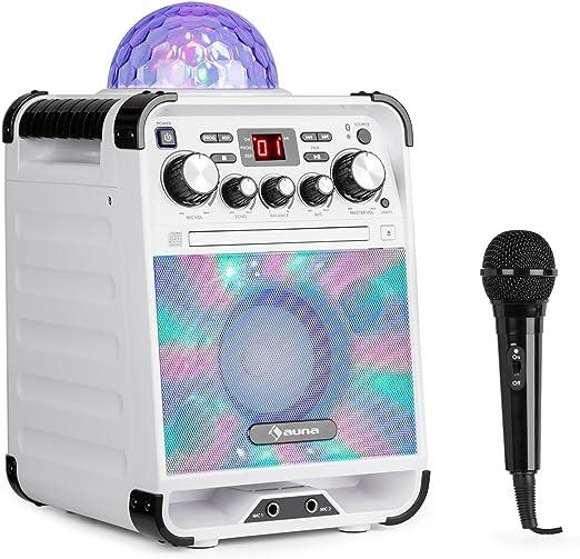 auna Rockstar - Karaoke, Equipo de Sonido pequeño, Equipo de Karaoke, Bola de Luces LED, AVC, Efecto Eco, Bluetooth, Peso Total: 3,1 Kg, CD, CD-R y CD-RW, Robusto, Blanco: Amazon.es: Electrónica