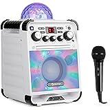 Auna Rockstar • Sistema Karaoke • Sistema Mini-Sound • Karaoke • Jellyball-LED • Funzione AVC • Effetto Eco • Bluetooth • Peso: 3,1 kg • CD, CD-R e CD-RW • Robusto • Bianco