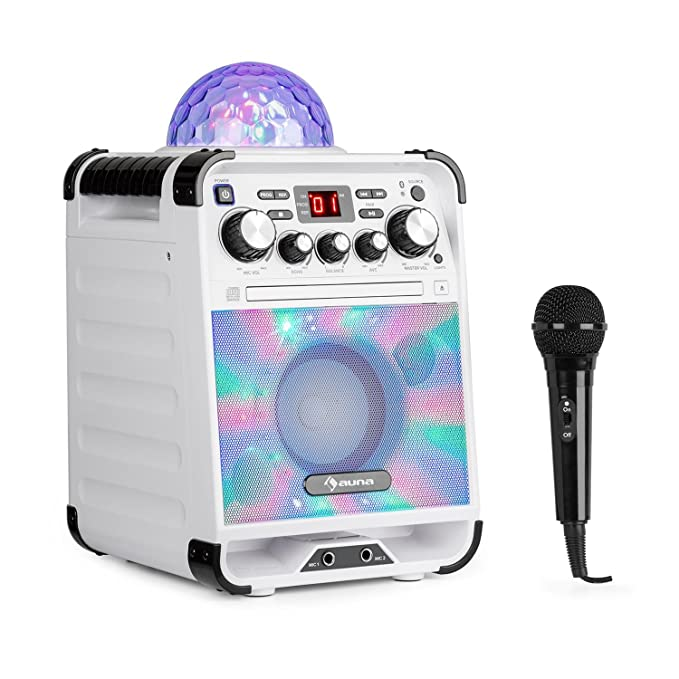 auna Rockstar • Karaoke-Anlage • Mini-Sound-System • Karaoke-System • LED-Jellyball • AVC-Funktion • Echo-Effekt • Bluetooth