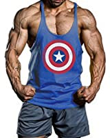 Moge America Captain Fitness Sweat Muscles Vest Cotton Loose Gym Vest Y-back Bod