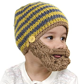 906c3d3ee5c Amazon.com  Small Beard Beanie - Grey and Yellow Beanie with Beard for Baby  and Toddler - 14 inches  Baby