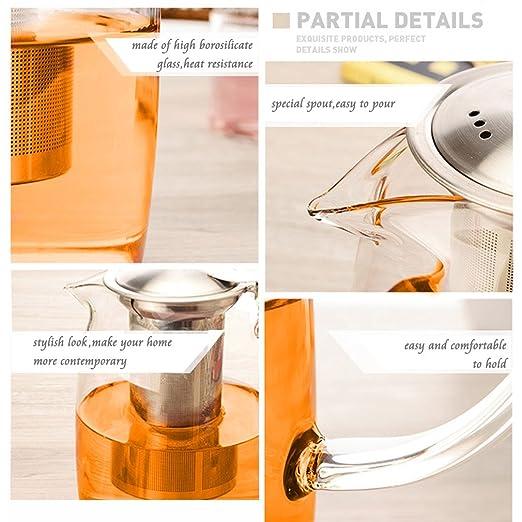 TOYO HOFU Tetera de vidrio transparente con infusor desmontable - 1100ml: Amazon.es: Hogar