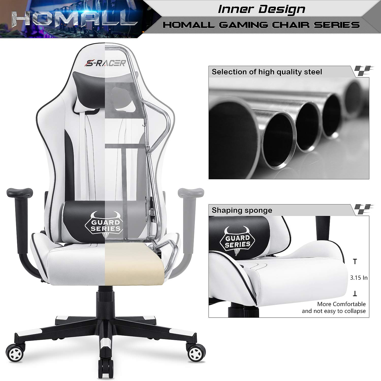 Homall Gaming Chair Office Chair High Back Racing Computer Desk Chair PU Leather Chair Executive and Ergonomic Swivel Chair with Headrest and Lumbar Support White