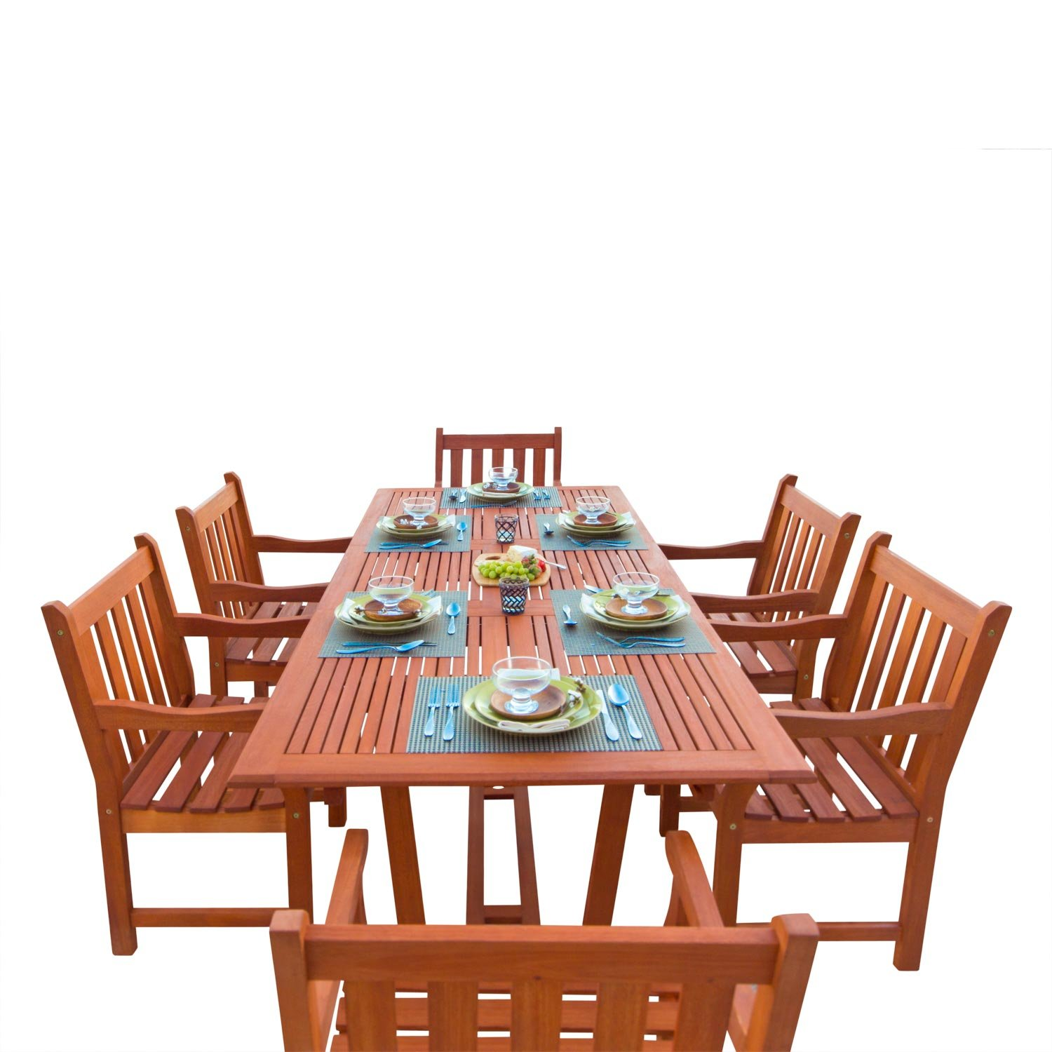 Amazon com vifah v232set1 english garden 7 piece dining set with rectangular extension table natural wood finish 91 by 39 by 29 inch garden outdoor