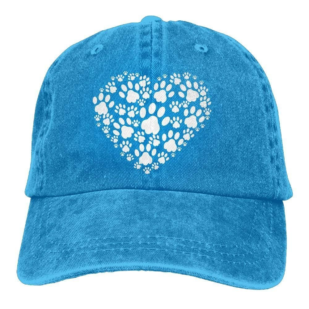 2018 Adult Fashion Cotton Denim Baseball Cap Heart of Dogs Paws-1 Classic Dad Hat Adjustable Plain Cap JTRVW Cowboy Hats