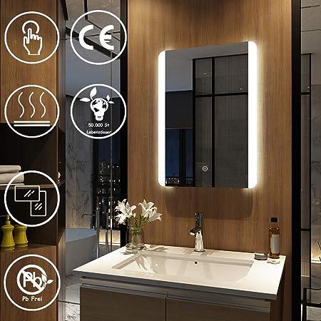 SOGOO/® Nouvelle G/én/ération L50 x H70cm 18W Lampe Miroir Salle de Bain LED Miroir Lumineux Salle de Bain LED Avec Fonction Anti Bu/ée Miroir Salle de Bain avec /Éclairage Int/égr/é LED Blanc Froid 6500K