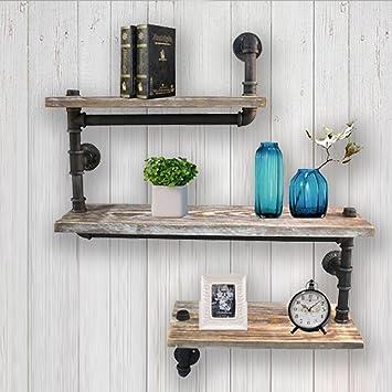 Reclaimed Wood Industrial DIY Pipes Shelves Steampunk Rustic Urban Bookshelf 3 Tier Bookshelves