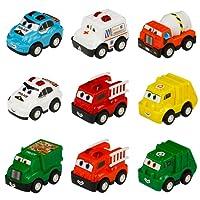 yoptote toys Véhicule Miniature Camion 9 Pcs Repousser pour Garçon et Fille
