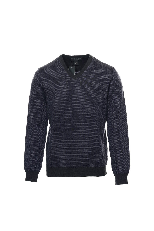 Baruffa The Men's Store Purple Herringbone V-Neck Sweater, Size Medium