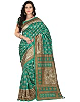e-VASTRAM Women's Art Mysore Printed Silk(NS9C_Green)