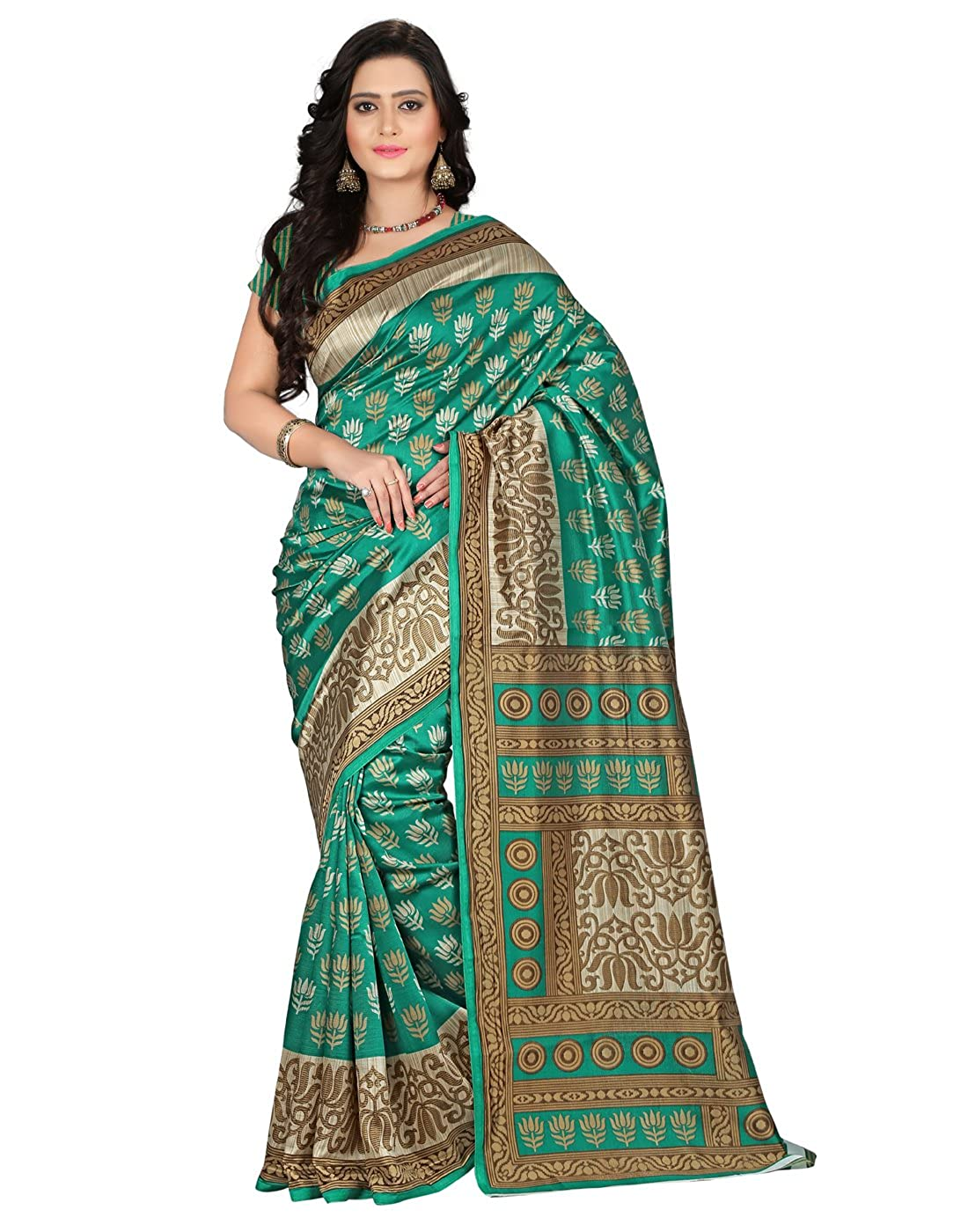 e-VASTRAM Women's Mysore Silk With Blouse Piece Saree (Ns9C_Green)