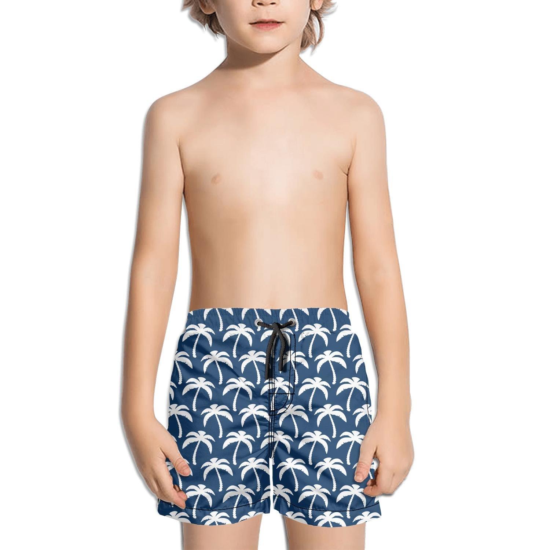 FullBo Navy Blue Coconut Palm Tree Print Little Boys Short Swim Trunks Quick Dry Beach Shorts