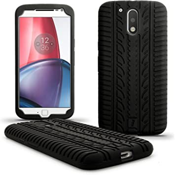 igadgitz U5439 Neumático Silicona Gel Carcasa Compatible con Motorola Moto G 4ª Generación XT1622 (Moto G4) & Moto G4 Plus XT1644 + Protector Pantalla ...