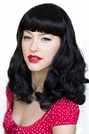 Black 1950's Retro Pin Up Style Wig, Curled