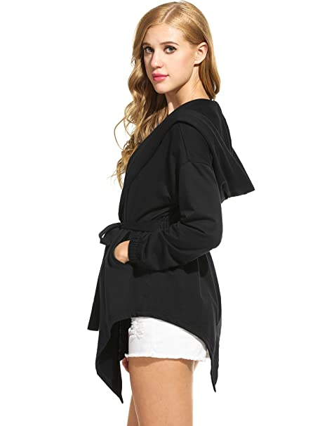 9f513cada9311 Meaneor Women s Fashion Long Trench Coat Hoodies Jacket with Pockets Black S