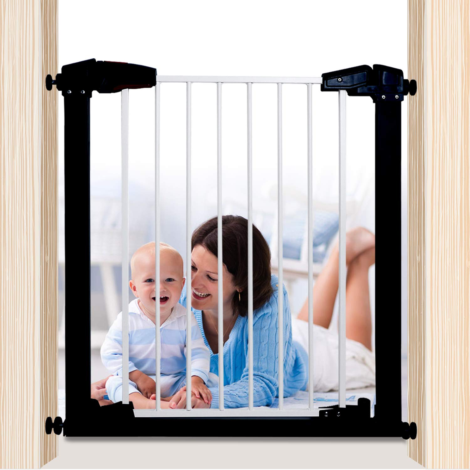 Luuoz Baby Gate Pet Gate Swings Both Ways, 40.55-Inch Retractable Baby Gate, Extra Wide Walk Thru Gate, Includes 8-Inch Extension Kit, Silver Grey