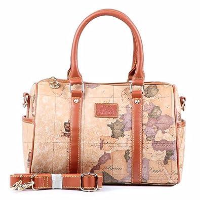 Leather handbag shoulder bag bucket bag world map design amazon leather handbag shoulder bag bucket bag world map design gumiabroncs Image collections