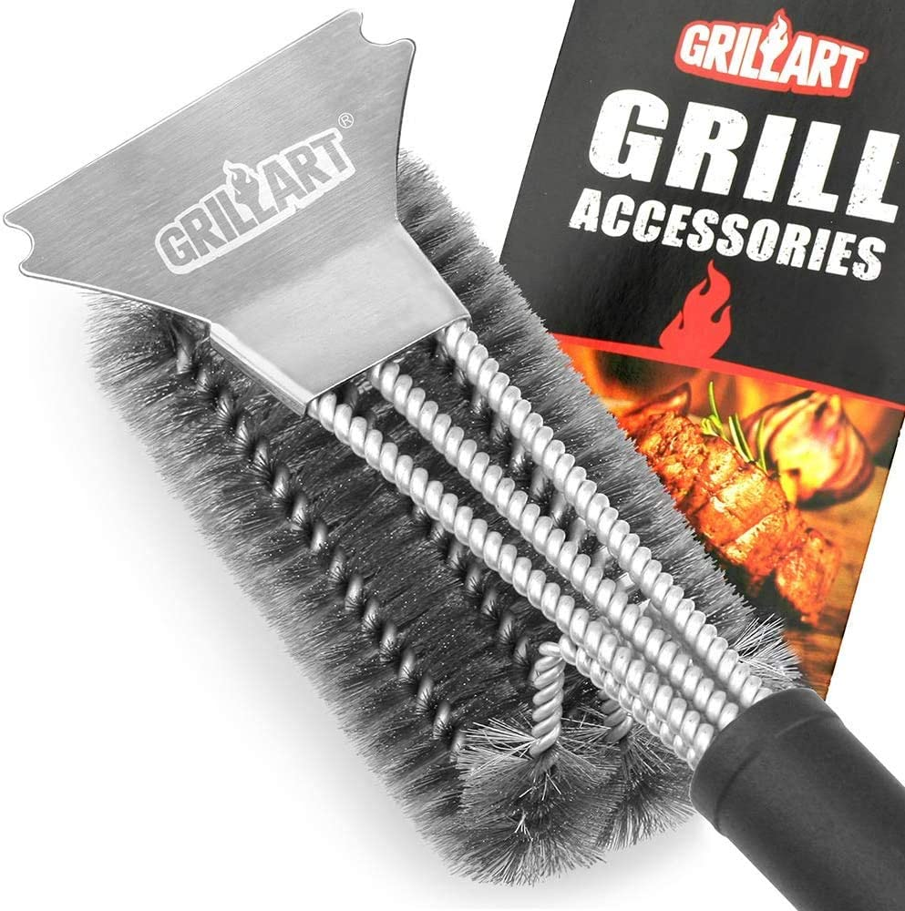 """GRILLART Grill Brush and Scraper Best BBQ Brush for Grill, Safe 18"""" Stainless Steel Woven Wire 3 in 1 Bristles Grill Cleaning Brush : Garden & Outdoor"""