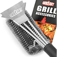 GRILLART Grill Brush and Scraper Best BBQ Brush for Grill, Safe 18″ Stainless Steel Woven Wire 3 in 1 Bristles Grill Cleaning Brush