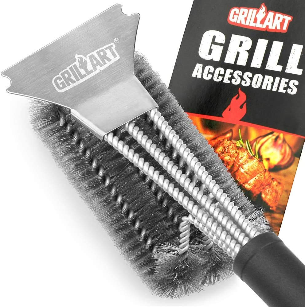 """GRILLART Grill Brush and Scraper Best BBQ Brush for Grill, Safe 18"""" Stainless Steel Woven Wire 3 in 1 Bristles Grill Cleaning Brush"""