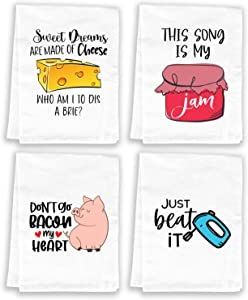 Miracu Funny Kitchen Towels and Dishcloths Sets, Cute Dish Towels - Mothers Day, Housewarming Gift, House Warming Presents for New Home - Decorative Flour Sack Kitchen Towels, Tea Towels Set, Cotton