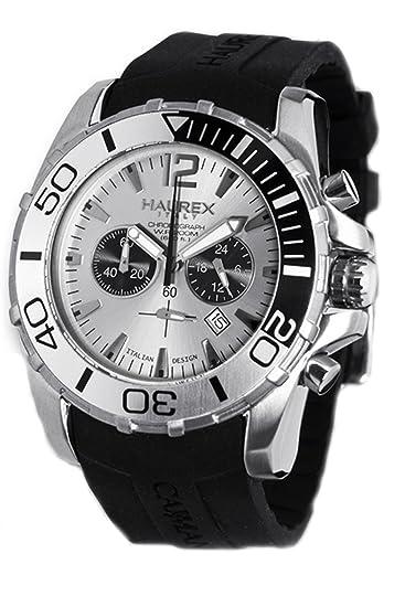4935b087c80b Haurex Italy Caimano - Reloj cronógrafo de caballero de cuarzo con correa  de goma negra  Amazon.es  Relojes