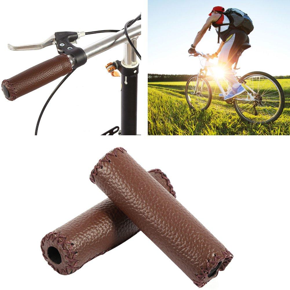 Alomejor Leder Fahrradgriffe Kunstleder N/ähen Push On Lenkergriffe f/ür Mountainbike Rennrad