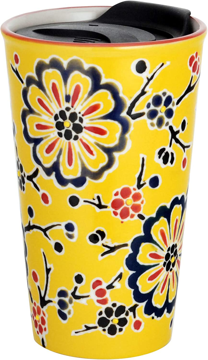 Hinomaru Collection Japanese Asian Design Porcelain Travel Mug Double Wall Insulated Tumbler with Wrap Lid 12 fl oz Coffee Travel Mug Hot or Cold Beverage (Yellow Blossoms)