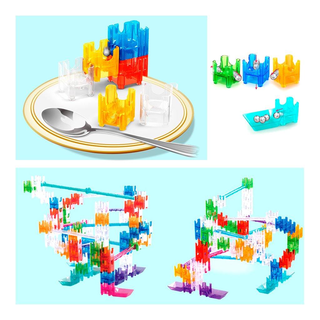 EA-STONE 48Pcs Marble Run Race Building Blocks Set,Construction Toys Maze Ball Run Race Toys for Kids