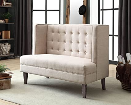 Amazon.com: Bilbao Gray Linen-like Fabric Loveseat Bench by ...