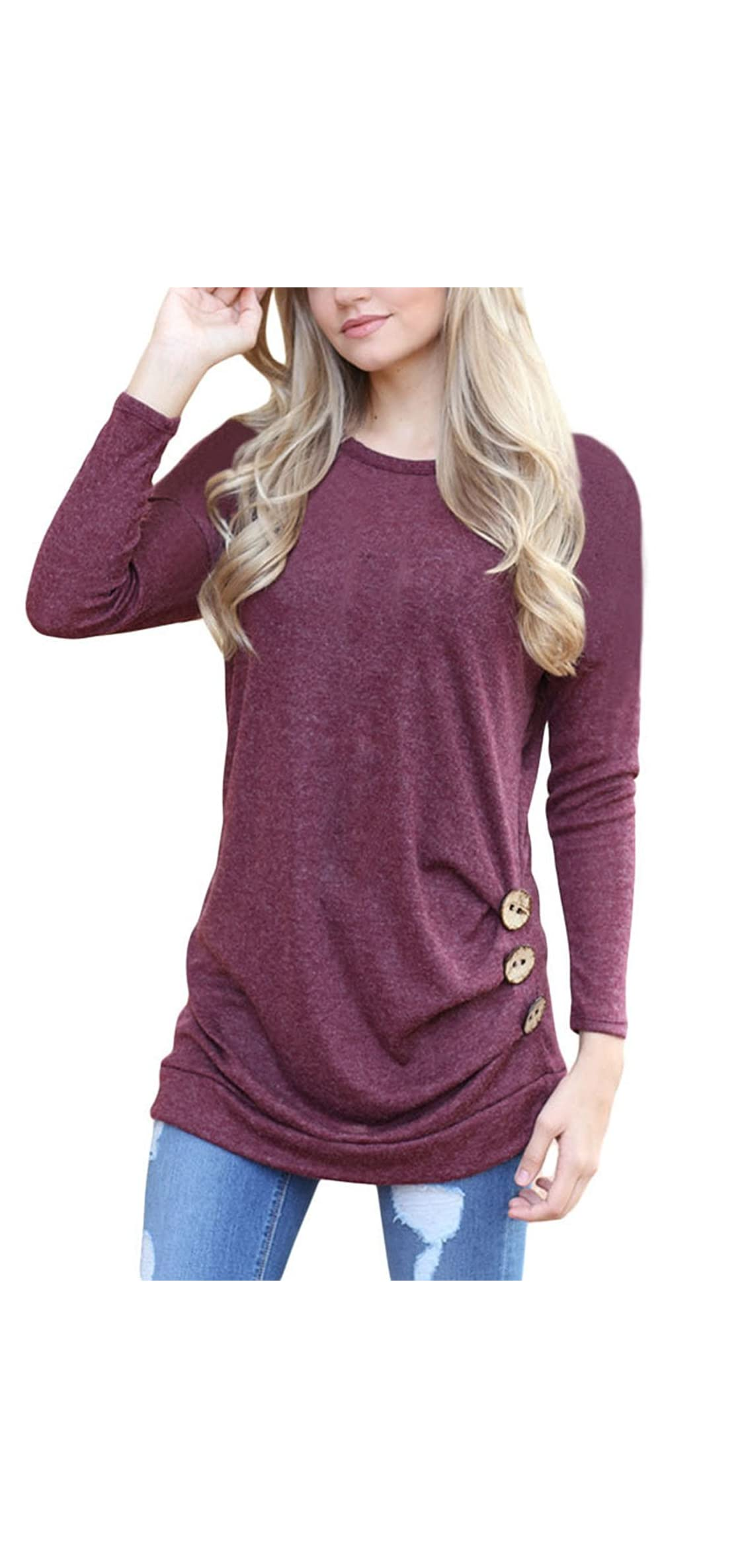 Women's Casual Long Sleeve Round Neck Solid Loose Fit Tunic