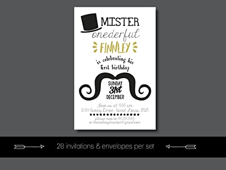 Amazon custom birthday party invitation mr onederful first custom birthday party invitation mr onederful first birthday little man personalized filmwisefo