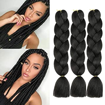 Amazon Com Jumbo Kanekalon Braiding Hair Extensions Pure Black Color 24 Inches 100g Pc Kanekalon Fiber For Twist Braiding Hair 3 Packs Beauty