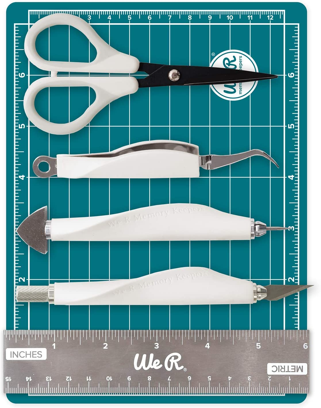 Mini Tool Kit & Magnetic Mat by We R Memory Keepers | Includes 6 x 8-inch magnetic mat, 6-inch ruler, precision tweezers, brad setter, art knife and 5-inch precision scissors