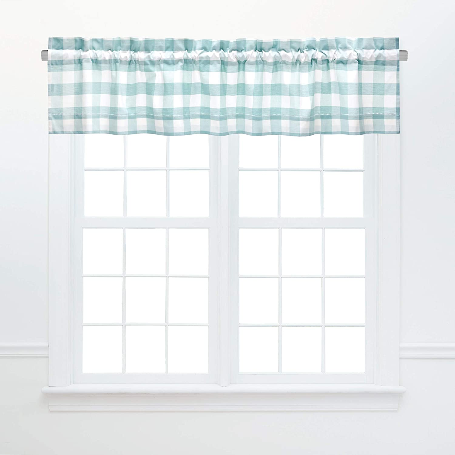 C&F Home Franklin Sea Glass Valance Checkered Cotton Curtains for Window Living Dining Room Bedroom Bathroom Kitchen Valance Sea Glass